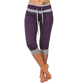 Womens Ladies Yoga Capri Pants Splicing Flared High Waist