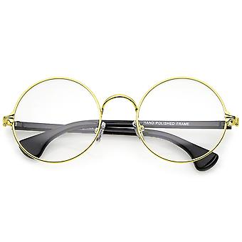 Classic Slim Metal Frame Clear Lens Round Eyeglasses 53mm