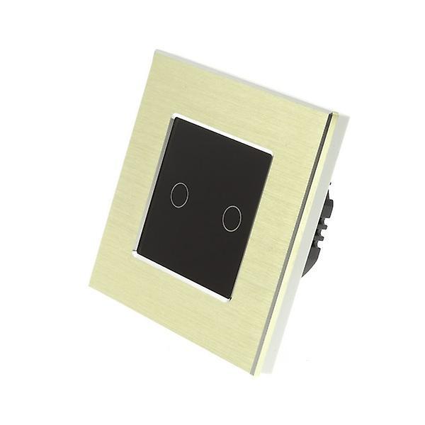 I LumoS Gold Brushed Aluminium 2 Gang 1 Way WIFI/4G Remote Touch LED Light Switch Black Insert