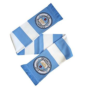 Manchester City FC Official Striped Football Supporters Crest/Logo Bar Scarf
