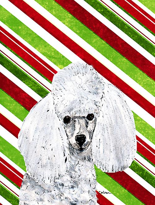 White Toy Poodle Candy Cane Christmas Flag Canvas House Size