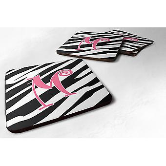 Set of 4 Monogram - Zebra Stripe and Pink Foam Coasters Initial Letter M