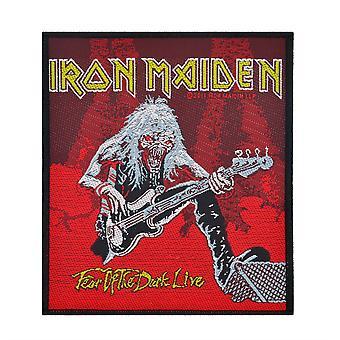 Iron Maiden rädsla för det levande - mörkrött - vävda plåster