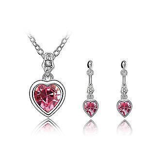 Cristal de Swarovski Elements Rose adorned dangling hearts ornament