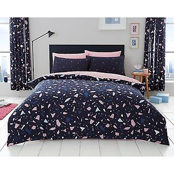 Terrazzo Triangles Duvet Quilt Cover Polycotton Printed Bedding Set Bed linen
