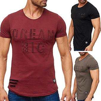Men's T Shirt Ripped Short-Sleeved Shirt Destroyed Biker Used Look New