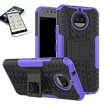 Hybrid Case 2teilig Lila für Motorola Moto G5S + Hartglas Tasche Hülle Cover