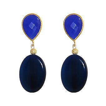 GEMSHINE earrings with lapis, agate gemstones. Earrings 925 silver plated.