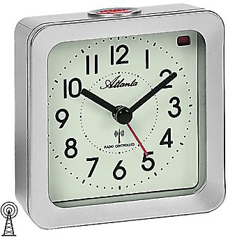 Atlanta 1854/19 alarm clock radio alarm clock silver square with light Snooze