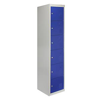 Metal Lockers 6 Portes Steel Flatpack Stockage Lockable Gym School Blue 45cm D