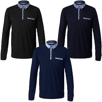 Duke D555 Gavin Mens Long Sleeve Woven Chambray Collar Polo Shirt Top