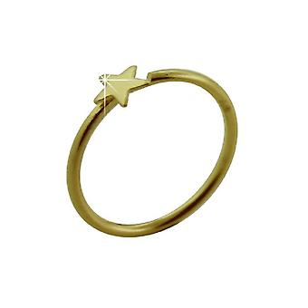 Nose Hoop Ring 14Ct Yellow Gold, Open Nose Hoop Ring, Star