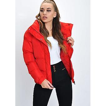 Överdimensionerade gröda dold huva vadderad Puffer Jacket Coat röd