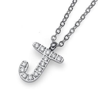 Oliver Weber Pendant Initial J Steel CZ Crystal