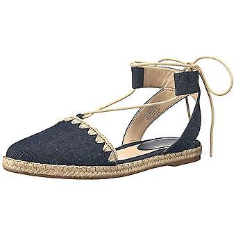 Nine West Womens Unah Almond Toe Ankle Wrap Slide Flats