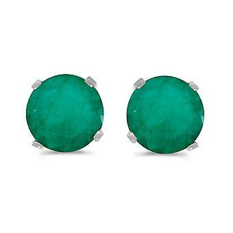 LXR 5 mm Natural Rund Smaragd Stecker Ohrringe Set in 14k Weißgold 0.66 ct