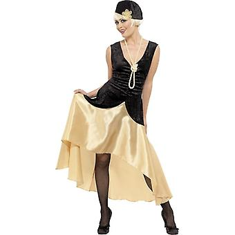 20s Gatsby Girl Costume, Black and Gold, UK Dress 20-22