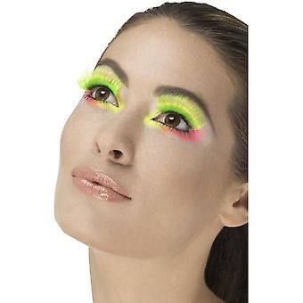 80's Party Eyelashes, Neon Green, Contains Glue