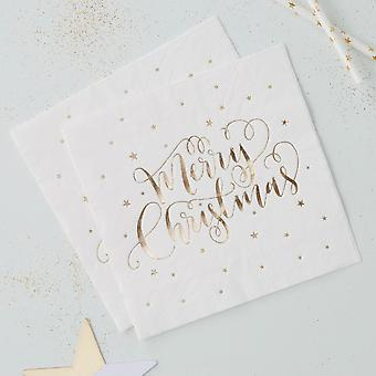 Gold Foiled 'Merry Christmas' Paper Napkins x 20 3 ply Xmas Party