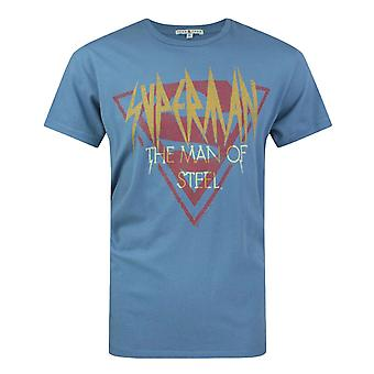 Junk Food Superman Man Of Steel Logo Men's T-Shirt Blue
