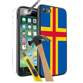 For Nokia 3 - Aland Island Flag Design Printed Black Case Skin Cover with Tempered Glass - 0202 by i-Tronixs