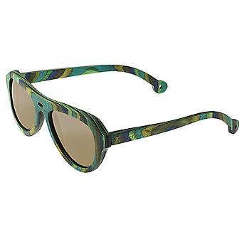 Spectrum Lopez Wood Polarized Sunglasses - Green Stripe/Brown