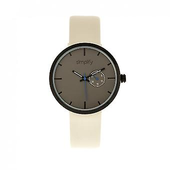 Simplify The 3900 Leather-Band Watch w/ Date - Eggshell