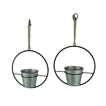 Rustic Metal Hoop Indoor Outdoor Hanging Planters Set of 2