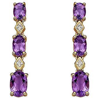 Elements Gold Amethyst and Diamond Long Earrings - Gold/Purple