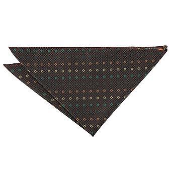 Color marrón con verde y oro diamante Mini geométricas Plaza de bolsillo