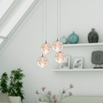 Antique Aura Nickel Ceiling Pendant Light Four Pendant Square Canopy Hanging Lamp