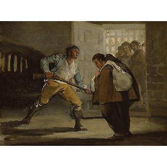 El Maragato points a gun on Friar,Francisco Goya,29.2x38.5cm