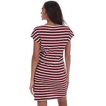 Womens Vero Moda April Stripe robe blanche neige/Night Sky/rouge chinois