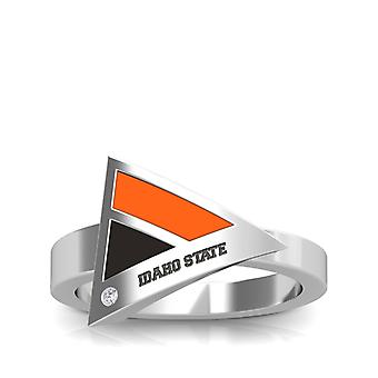 Idaho State University Engraved Sterling Silver Diamond Geometric Ring In Orange and Black