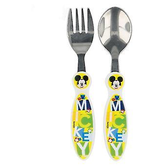 2 Mickey Mouse cubiertos de metal