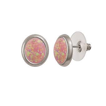 Ewige Sammlung Menuett Rosa Opal Silber Ton Gestüt Ohrstecker (MM)