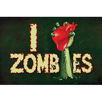 Poster - Zombies - I Heart Zombies Wall Art Licensed Gifts Toys 241276