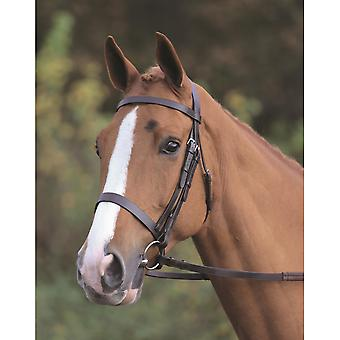 Shires Aviemore Plain Bridle With Rubber Grip Reins - Negro