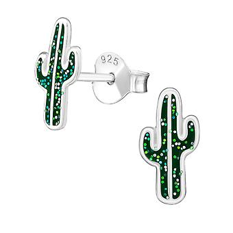 Cactus - 925 Sterling Silver Colourful Ear Studs - W31977x