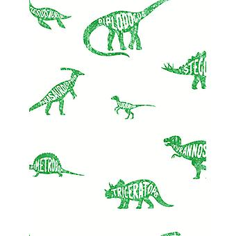 Over the Rainbow Dino Dictionary Wallpaper Green Holden 90902