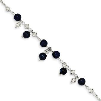 925 Sterling Silver Shadow Crystal Lapis Bracelet Anklet 9 Inch Spring Ring Jewelry Gifts for Women