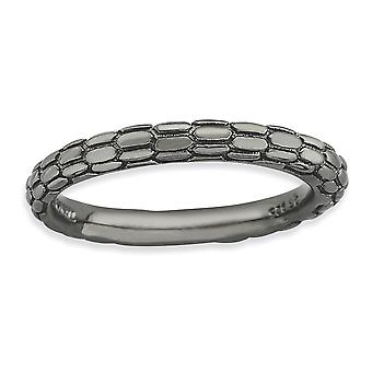2.5mm 925 Sterling Silver Polished Patterned Domed band Ruthenium plating Stackable Expressions Black-plated Domed Ring