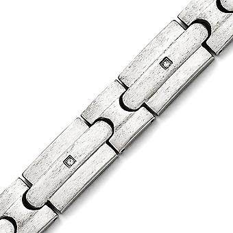 Stainless Steel Fold over Brushed CZ Cubic Zirconia Simulated Diamonds Bracelet 8.25 Inch Jewelry Gifts for Women