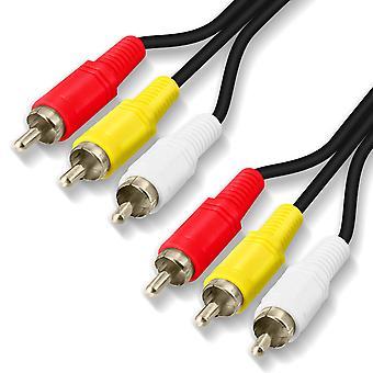 3 RCA Male/Male Video Cable 10m Quality Sound Resistant-LinQ, Black