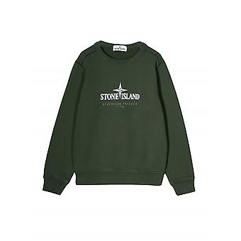 Stone Island Junior Khaki Green Logo Sweatshirt
