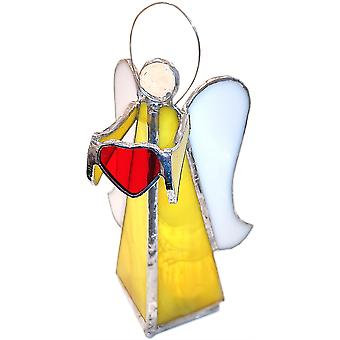 Simmerdim Diseño vidrio manchado ángel con corazón tealight titular amarillo