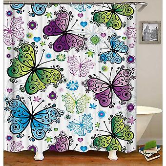 Blue Green Purple Butterflies Shower Curtain