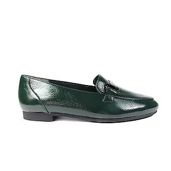 Paul Green 2279-10 fles groen lakleer Womens slip op loafer schoenen