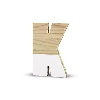 La Lluna0208000-K Semilacquered Pine Letter K White