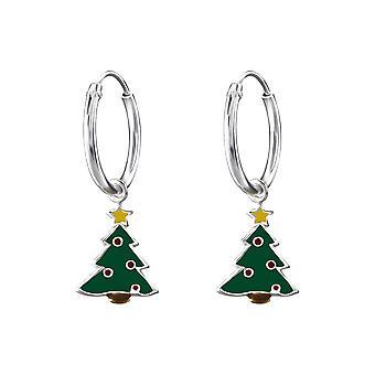 Children's Sterling Silver Hanging Christmas Tree Hoop Earrings